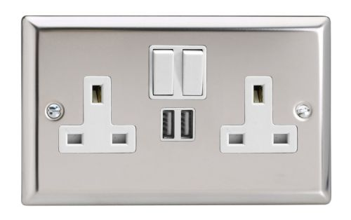 Varilight XC5U2SW Classic Mirror Chrome 2 Gang Double 13A Switched Plug Socket 2.1A USB
